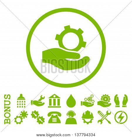 Engineering Service glyph icon. Image style is a flat pictogram symbol inside a circle, eco green color, white background. Bonus images are included.