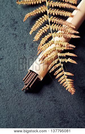 Natural incense sticks and a fern leaf