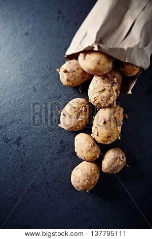 New potatoes in a paper bag