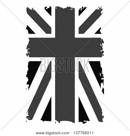 British flag t shirt typography graphics. Black and white national design isolated on white background. Symbol England Britain United Kingdom. Template for apparel card poster Vector illustration