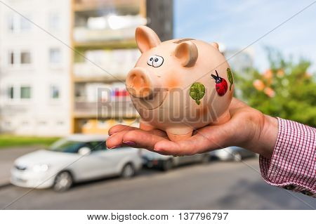 All Savings Money From Pink Ceramic Piggy Bank To Pay For The Dr