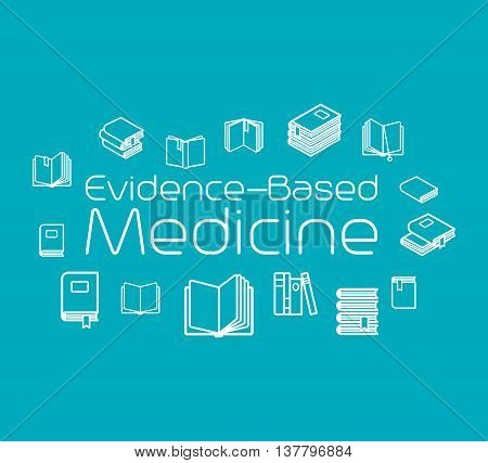 Evidence-based medicine concept illustration with books. Vector illustration