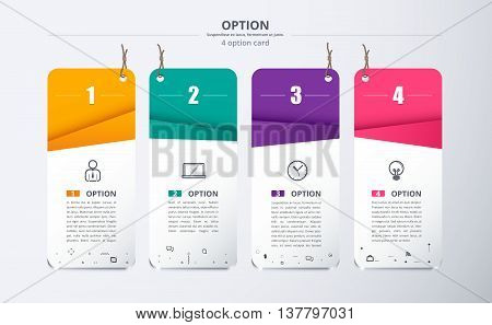 Infographic Label With 4 Color And Icon. Included Sample Text. Vector Stock