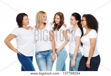 friendship, diverse, body positive and people concept - group of happy different size women in white t-shirts hugging