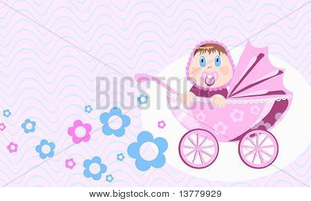 Wonder baby sits in perambulator, vector illustration