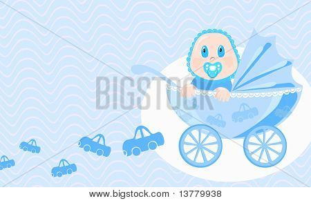 Vector illustration of baby looking in wide-eyed astonishment