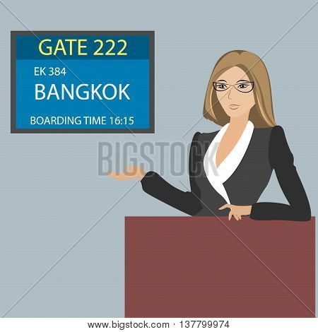 display near gate to board the aircraft and airport stuff vector