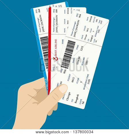 Several boarding passes tickets with QR2 code in hand. flat design vector illustration