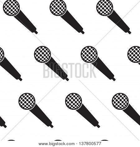 Seamless monochrome pattern vintage microphone. Microphone pattern for music and karaoke vector illustration