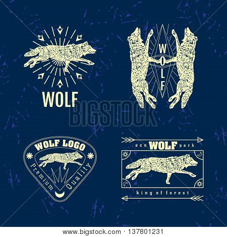 Vector colorful set with forest wolf. The wolf as main element of logotypes on dark blue background. Engraves vector design graphic element emblem logo sign identity logotype