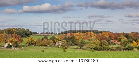 GROESBEEK, NETHERLANDS - OCTOBER 25, 2015: Panorama of autumn colors in Groesbeek, The Netherlands