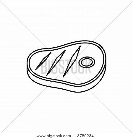 Meat steak icon in outline style isolated vector illustration