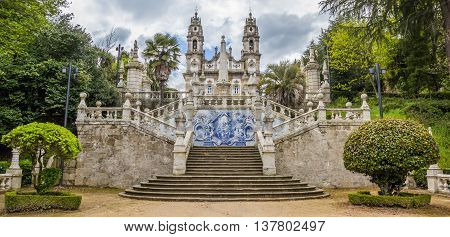 LAMEGO, PORTUGAL - APRIL 22, 2016: Panorama of Sanctuary of Our Lady of Remedios in Lamego, Portugal