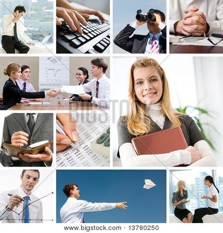 Collage mit Unternehmern und Objekte in verschiedenen Situationen