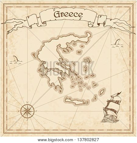 Greece Old Treasure Map. Sepia Engraved Template Of Pirate Map. Stylized Pirate Map On Vintage Paper