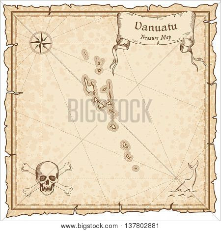 Vanuatu Old Pirate Map. Sepia Engraved Template Of Treasure Map. Stylized Pirate Map On Vintage Pape
