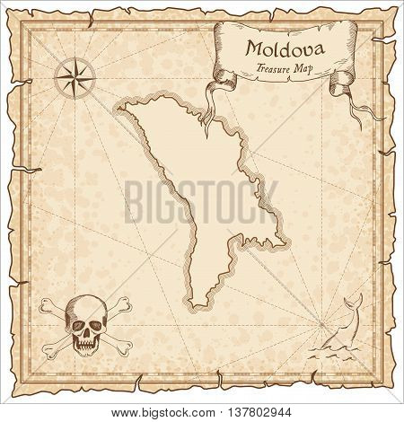 Moldova, Republic Of Old Pirate Map. Sepia Engraved Template Of Treasure Map. Stylized Pirate Map On