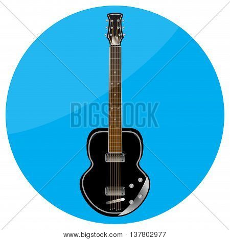 Electronic guitar icon flat. Musical instrument for concert sound recording mobile app. Vector illustration