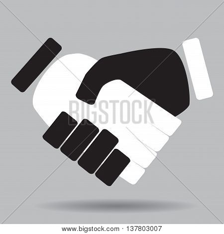 Handshake isolated white and black. Hand and handshake icon shaking hands and business handshake vector business partnership and illustration symbol meeting