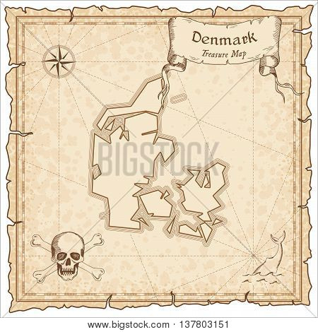Denmark Old Pirate Map. Sepia Engraved Template Of Treasure Map. Stylized Pirate Map On Vintage Pape