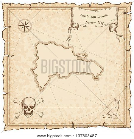 Dominican Republic Old Pirate Map. Sepia Engraved Template Of Treasure Map. Stylized Pirate Map On V