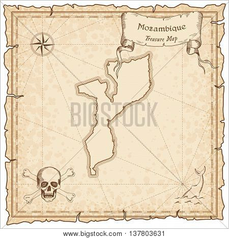 Mozambique Old Pirate Map. Sepia Engraved Template Of Treasure Map. Stylized Pirate Map On Vintage P