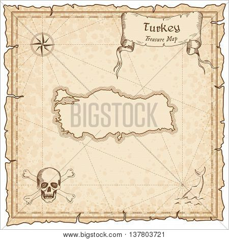 Turkey Old Pirate Map. Sepia Engraved Template Of Treasure Map. Stylized Pirate Map On Vintage Paper