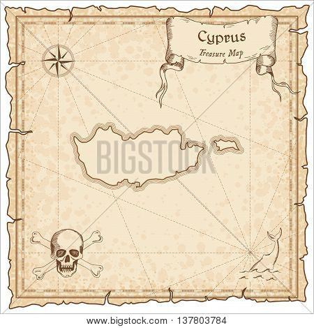 Cyprus Old Pirate Map. Sepia Engraved Template Of Treasure Map. Stylized Pirate Map On Vintage Paper