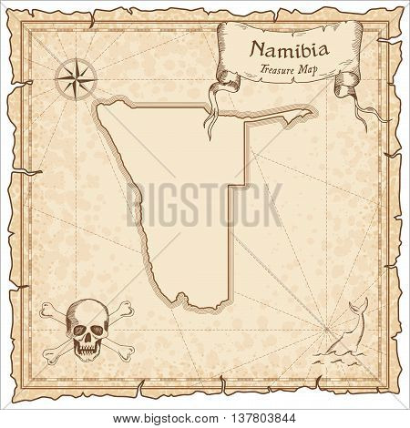 Namibia Old Pirate Map. Sepia Engraved Template Of Treasure Map. Stylized Pirate Map On Vintage Pape