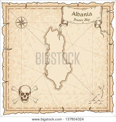 Albania Old Pirate Map. Sepia Engraved Template Of Treasure Map. Stylized Pirate Map On Vintage Pape