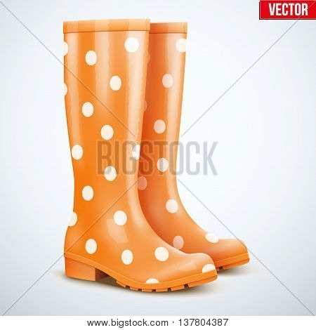 Pair of mottled speckled orange rubber rain boots. Symbol of garden wok or autumn and weather. Vector illustration Isolated on white background.