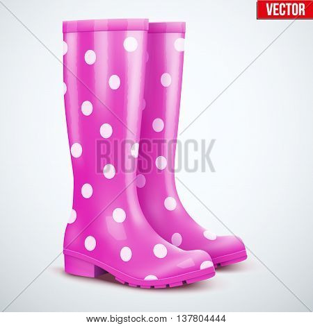 Pair of mottled speckled violet rubber rain boots. Symbol of garden wok or autumn and weather. Vector illustration Isolated on white background.