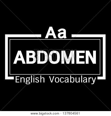 an images of ABDOMEN english word vocabulary illustration design