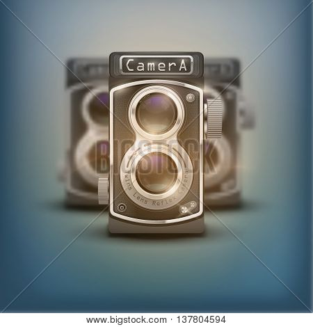 Poster of Vintage twin lens reflex cameras. Front view. Realistic retro design of medium format camera. Vector Illustration isolated on white background.