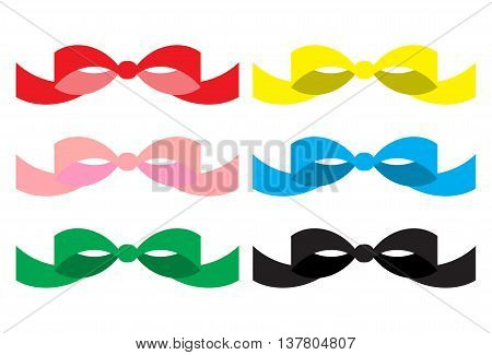 Set of colored bows. Ribbon bow for gift red bow vector illustration