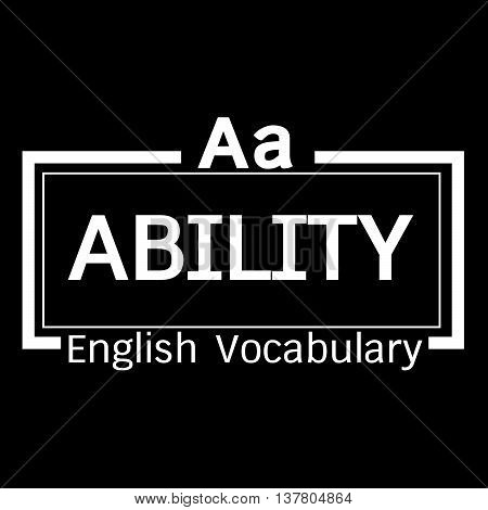 an images of ABILITY english word vocabulary illustration design