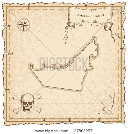 United Arab Emirates Old Pirate Map. Sepia Engraved Template Of Treasure Map. Stylized Pirate Map On