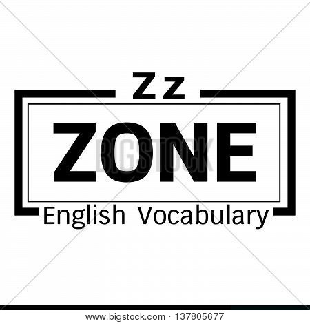 an images of ZONE english word vocabulary illustration design