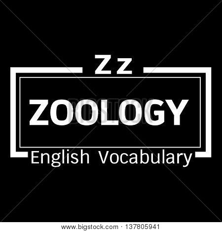 an images of ZOOLOGY english word vocabulary illustration design
