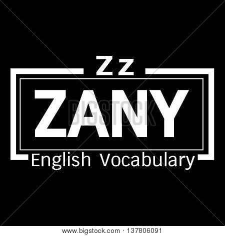 an images of ZANY english word vocabulary illustration design