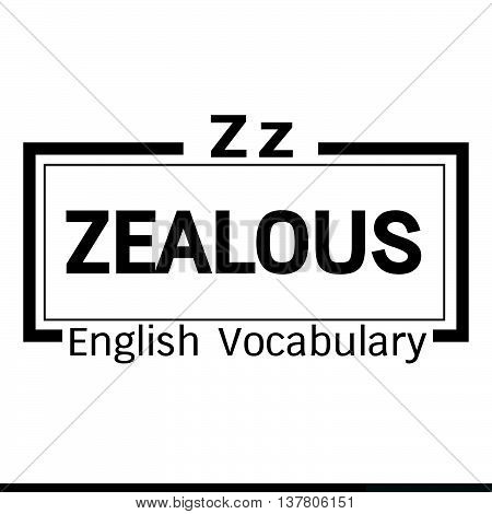 an images of ZEALOUS english word vocabulary illustration design