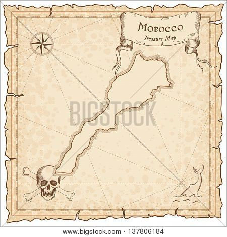 Morocco Old Pirate Map. Sepia Engraved Template Of Treasure Map. Stylized Pirate Map On Vintage Pape