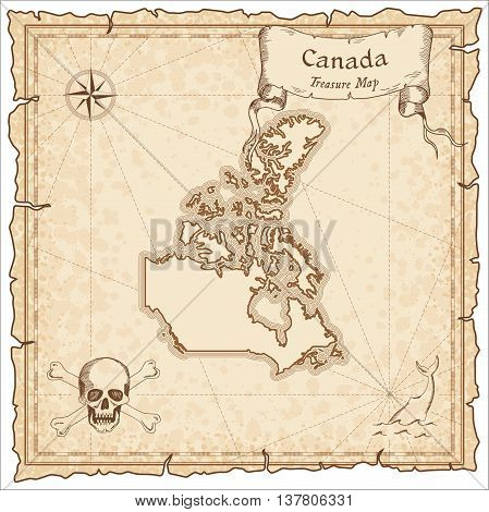 Canada Old Pirate Map. Sepia Engraved Template Of Treasure Map. Stylized Pirate Map On Vintage Paper