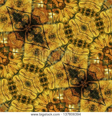 Abstract seamless reptile pattern with gold, brown and black scalloped structure. Seamless kaleidoscopic pattern with stylized snake skin
