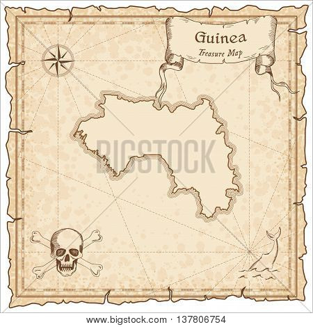 Guinea Old Pirate Map. Sepia Engraved Template Of Treasure Map. Stylized Pirate Map On Vintage Paper