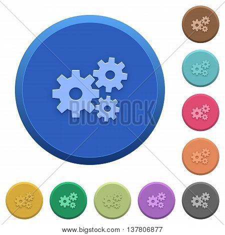 Set of round color embossed gears buttons