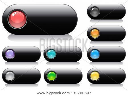 Glossy buttons for web design with spheres, vector illustration
