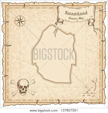 Swaziland Old Pirate Map. Sepia Engraved Template Of Treasure Map. Stylized Pirate Map On Vintage Pa