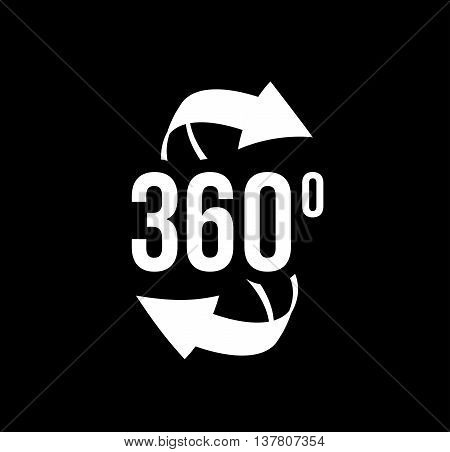 Angle 360 degrees view sign icon. The concept of a full rotation. Vector
