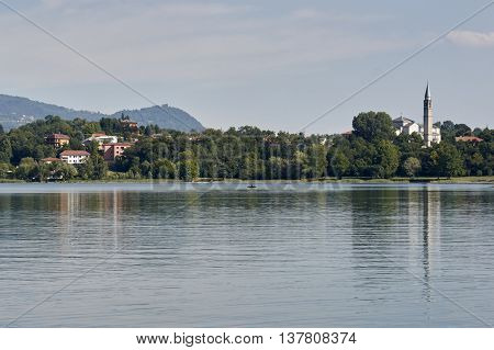 Landscape of Lombardy vacation at the lake of pusiano in the province of Como view of Bosisio Parini